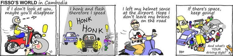 Fissos World in Cambodia cartoons how to drive like a local