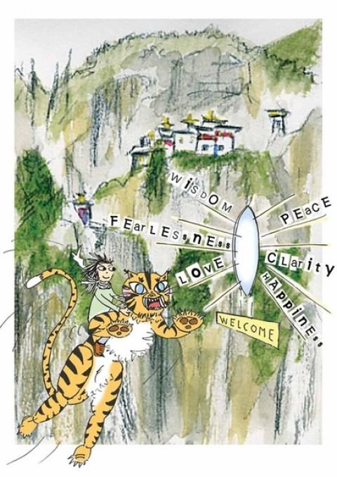 Taktsang Monastery Bhutan Cartoon Travel Sketch