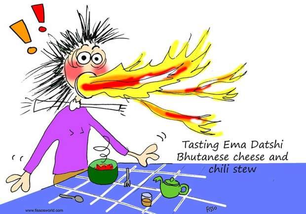 Eating fiery ema datshi Bhutan Cheese Chili Fissos World Travel cartoon
