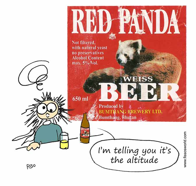 Drinking Cutest Beer Red Panda Bhutan Fissos World Travel Cartoons