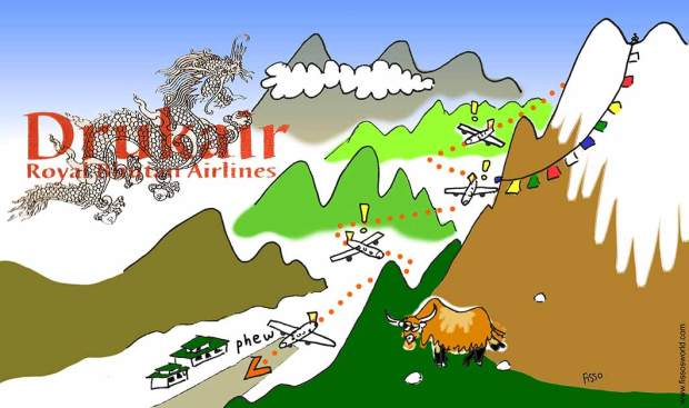 Accrobatic plane landing bhutan Druk Air Cartoon