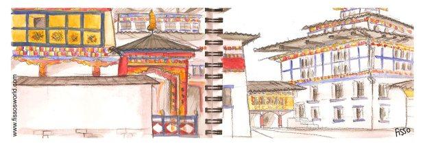 Thimpu TASCHICHHO dzong Bhutan travel cartoon sketch Fissos World