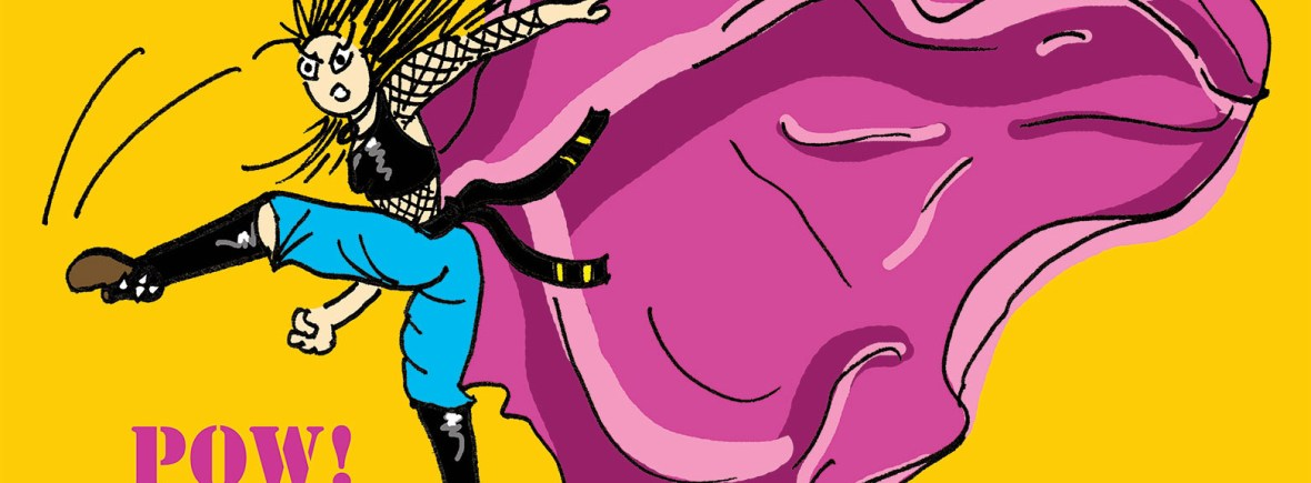 Fissos World kicking karma cartoon banner