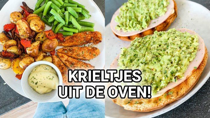 crunchy krieltjes met groente en kip