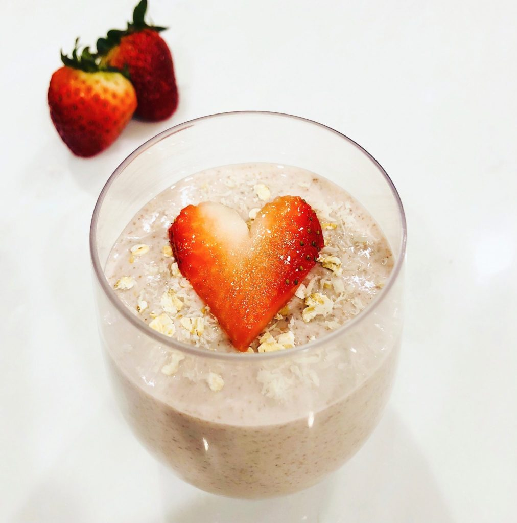 Overnight Strawberry Chia Oatmeal Pudding