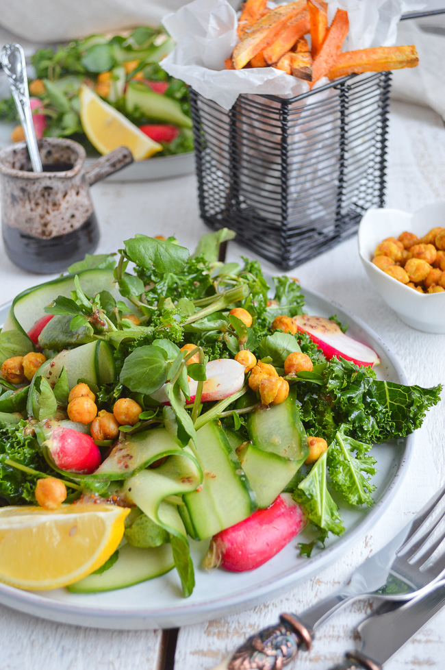 Vegan gluten free kale salad with roasted chickpeas
