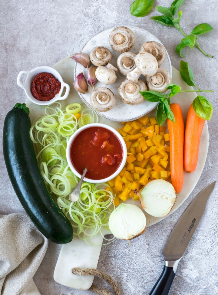 Top down view, ingredients for marinara sauce