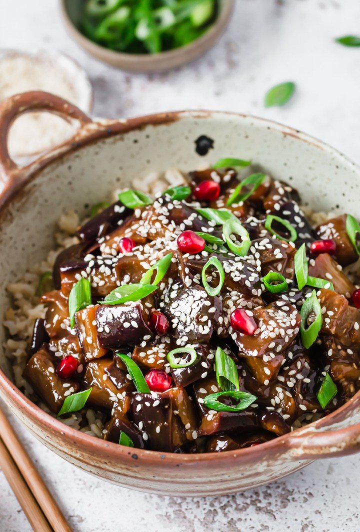 A bowl with vegan sticky aubergine & rice – Fit Foodie Nutter