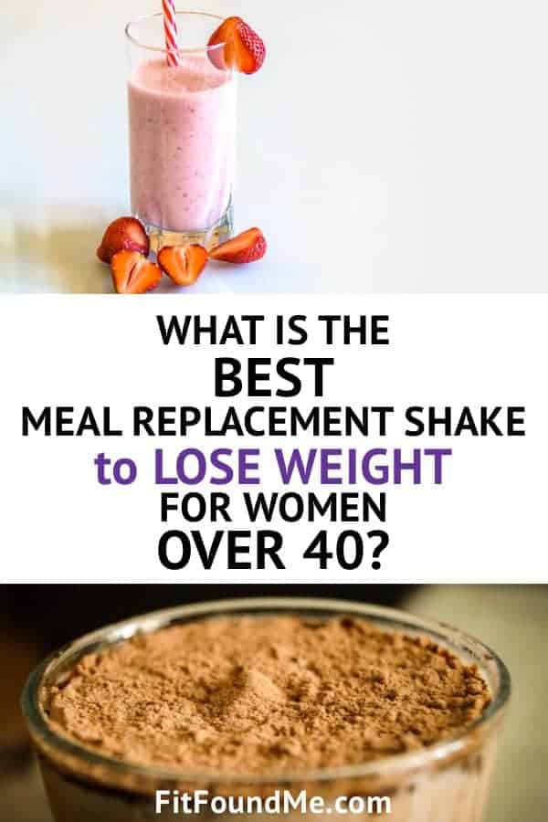 best meal replacement shake for weight loss - strawberry protein shake with strawberries beside glass and powder on top of meal replacement shake that helps women lose weight