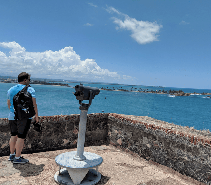 Andrew standing on a fort in San Juan built in 1500s