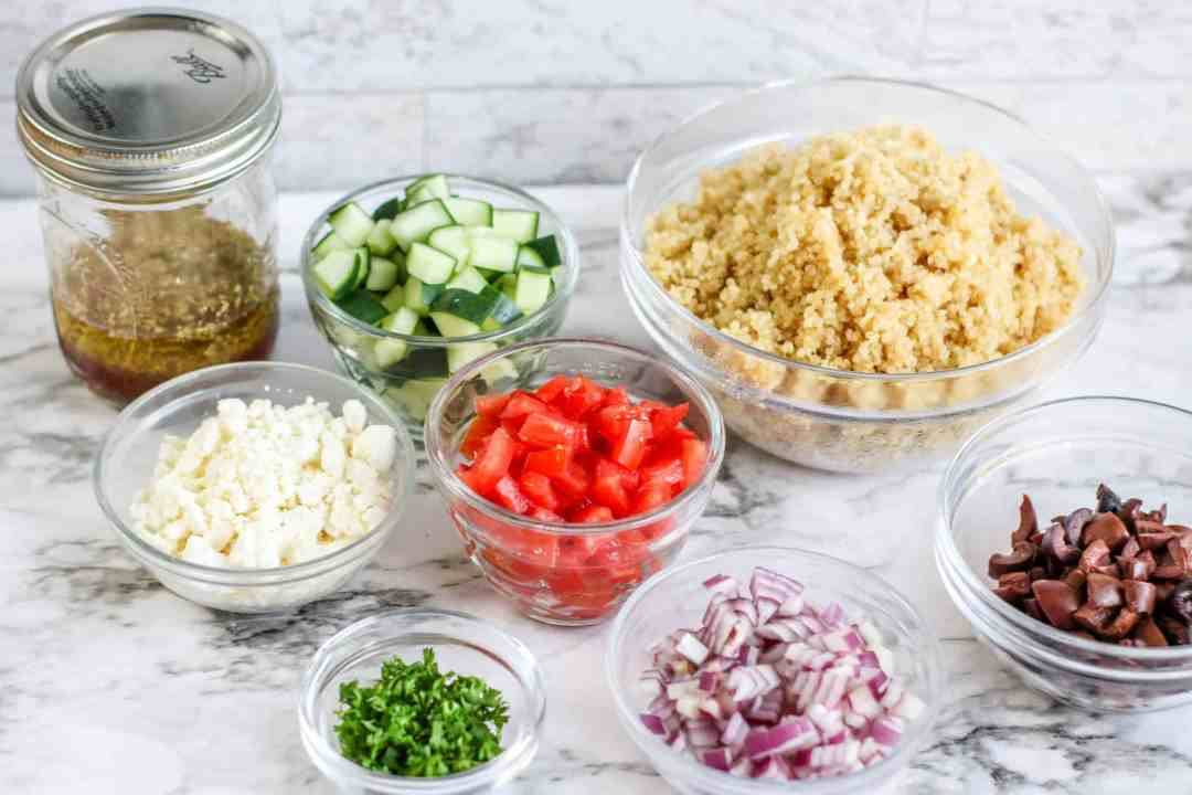 ingredients for quick, easy, delicious greek quinoa salad