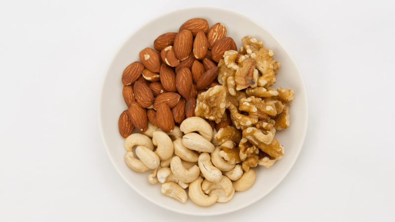 Almonds, walnuts and cashew nuts
