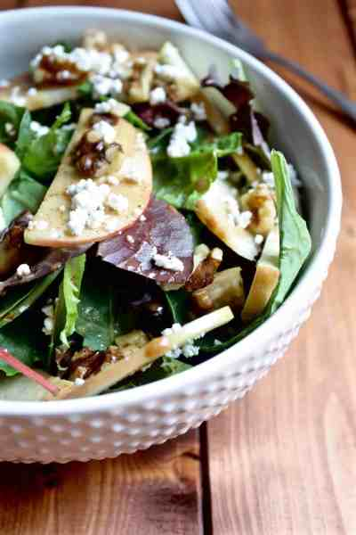 Apple Walnut Salad with Balsamic Almond Dressing [Fit Mitten Kitchen]