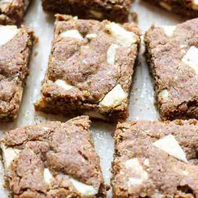 Gluten-free White Chocolate Chip Peanut Butter Blondies [on The Blissful Balance!]
