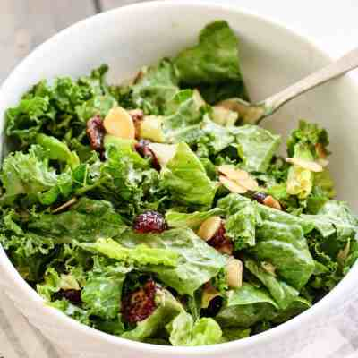 Kale and Romaine Cranberry Almond Salad [with balsamic cashew butter dressing]