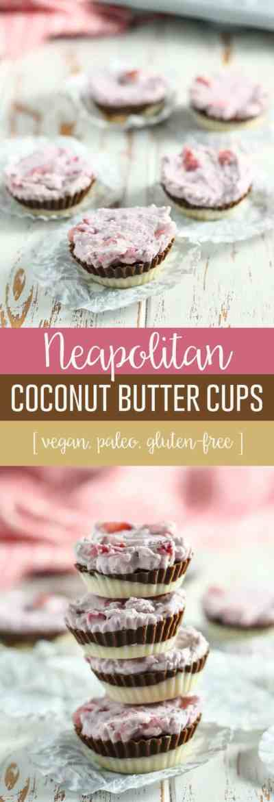 A layered mix of coconut butter in the classic ice cream flavor, these Vegan Neapolitan Coconut Butter Cups require just four ingredients! A healthier way to indulge for Valentine's Day.