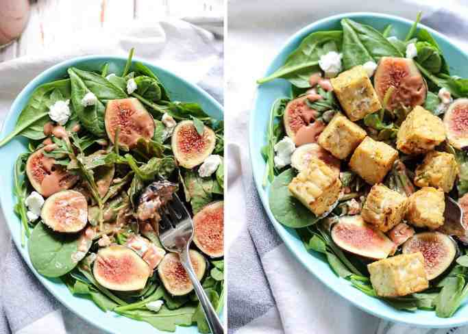 A Goat Cheese, Spinach & Arugula Fig Salad with a simple balsamic fig dressing. Perfect as a side salad, dish-to-pass, or make it a meal by adding your favorite extra toppings and protein.