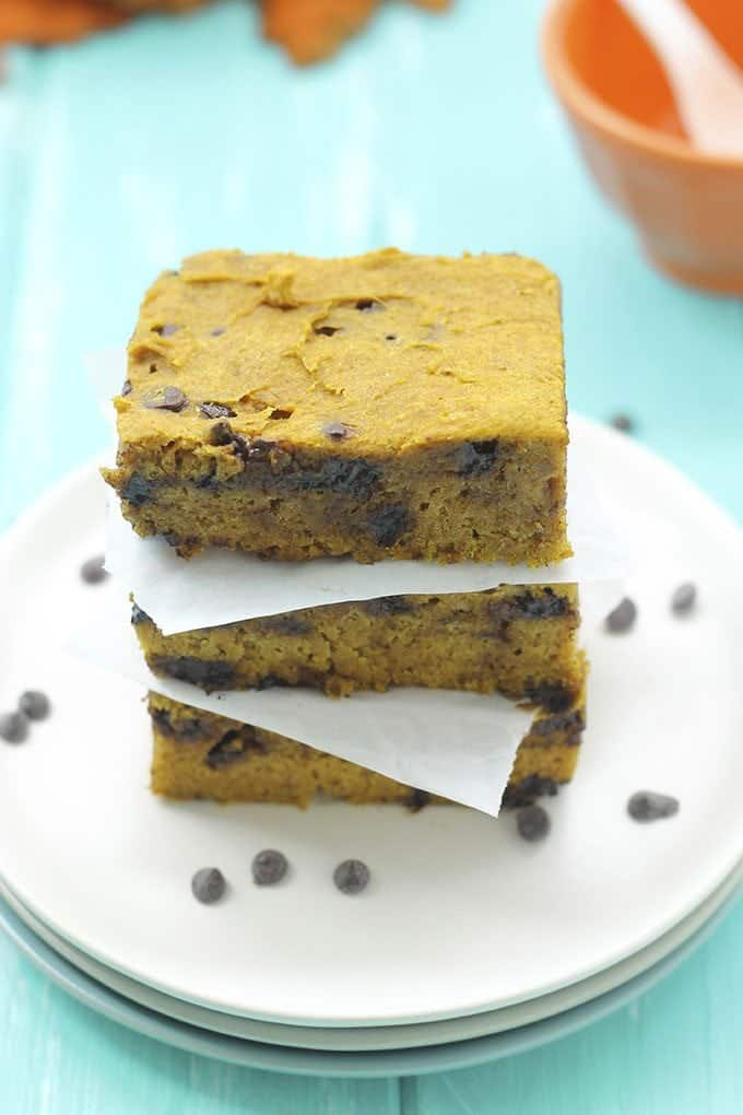 The Best Vegan Pumpkin Desserts! Pumpkin Choclate Chip Blondies -- The Healthy Maven