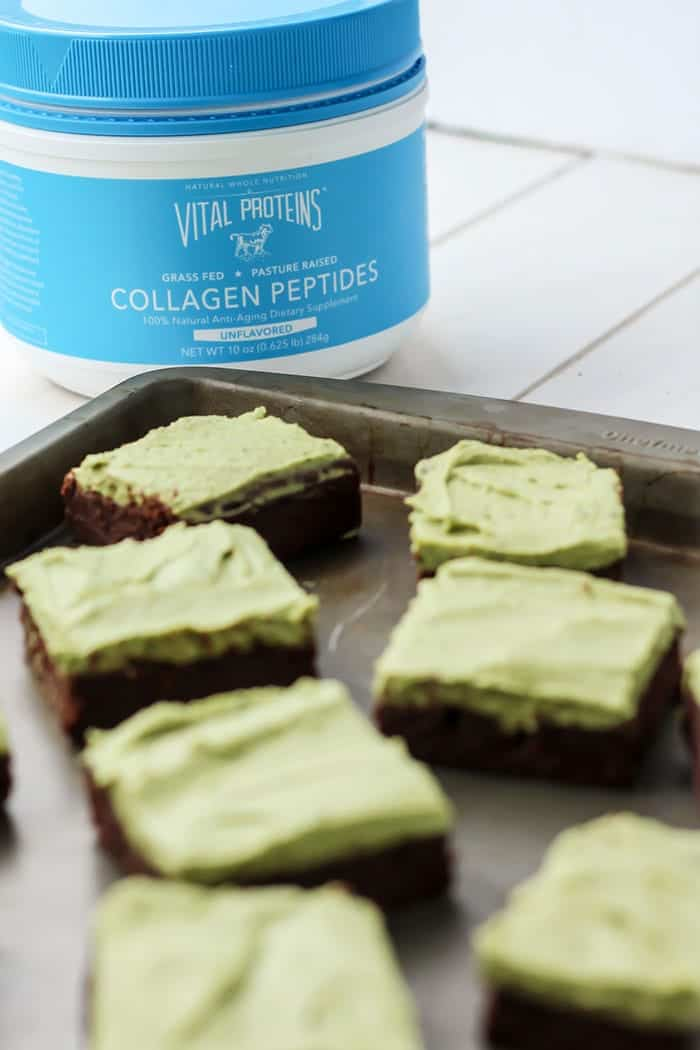 Grain-free, fudgy flourless brownies with a mint matcha frosting! Plus sneaking in some collagen peptides.