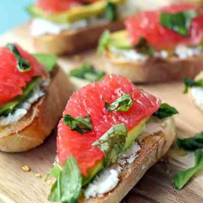 Goat Cheese Avocado Grapefruit Crostini
