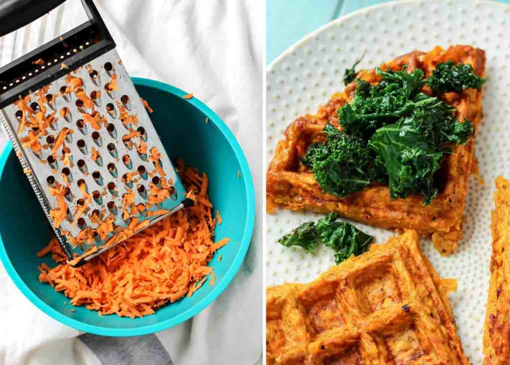 Just a grated sweet potato and an egg to make this hash-style waffle for a breakfast sandwich!