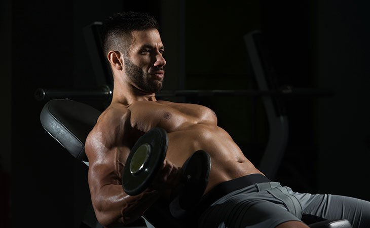 Man Incline Bench Workout Dumbbell Curl For Biceps
