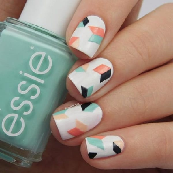 Multi color Geometric Nail Art