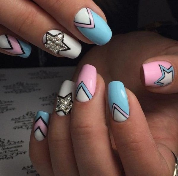 Pastel Colored Starry Geometric Nail Art