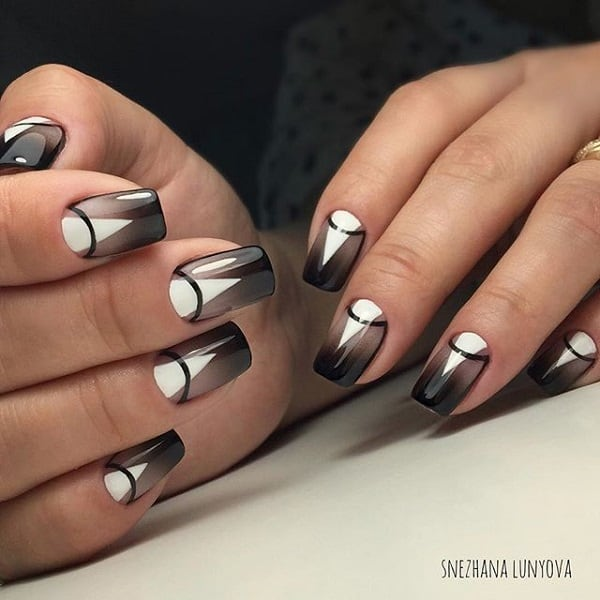 Shadowed Geometric Nail Art Design