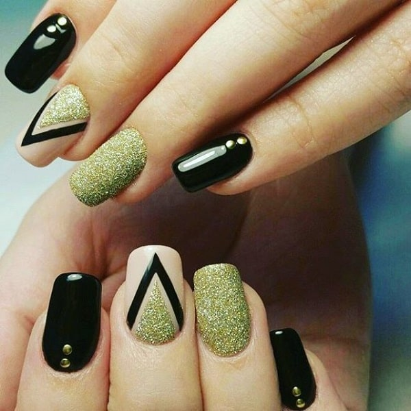 Sparkly Black and Gold Geometric Nail Art