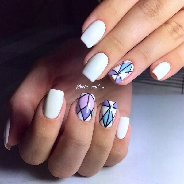 White, Pink, Purple and Blue Geometric Nail Art Design