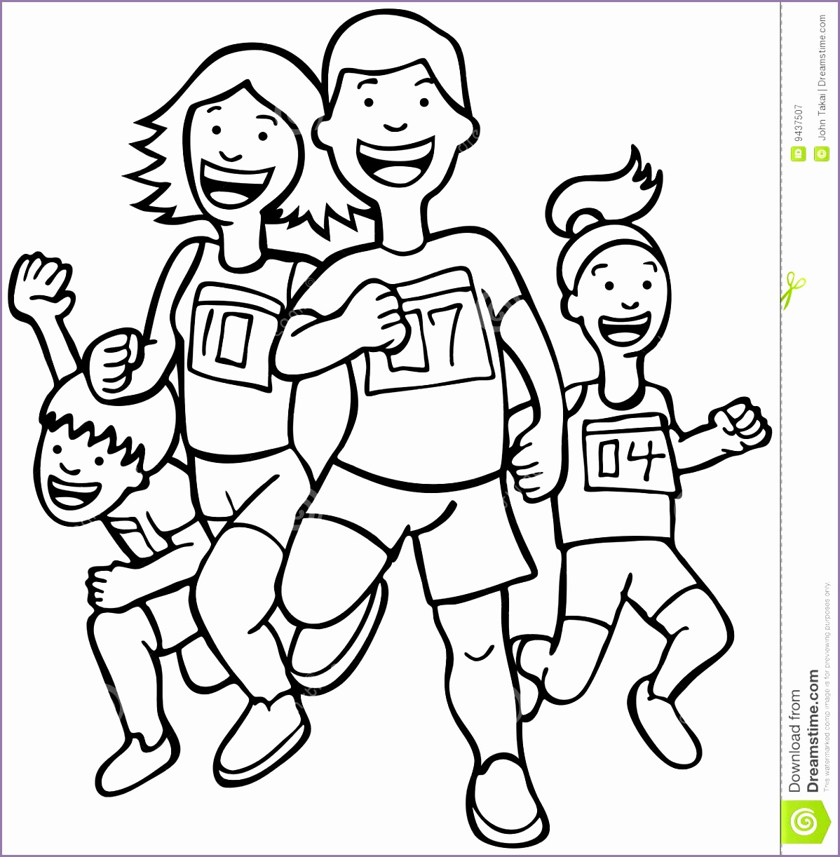 5 Kids Exercise Clipart Black And White