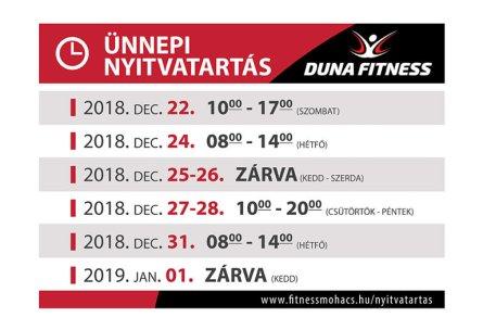 duna fitness nyitvatartás 2018 december