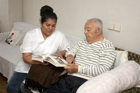 dementia patient trying to read