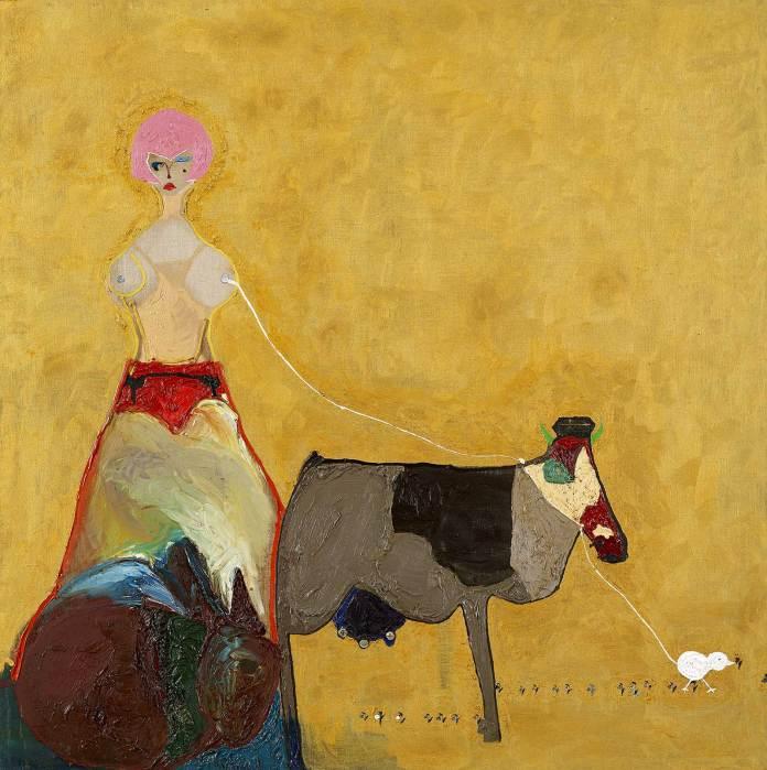 Ecaterina Vrana - Autoportret cu părul roz și vaca mare – ulei pe pânză, colecția MARe/Muzeul de Artă Recentă, foto – Alexandru Paul