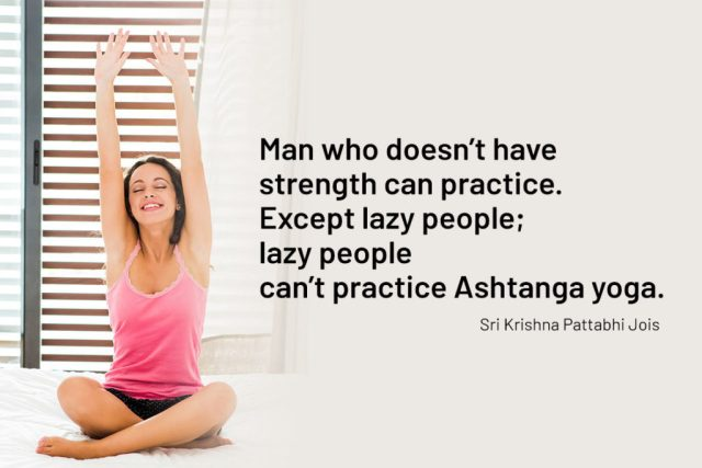 Funny Yoga Quote - Man who doesn't have strength