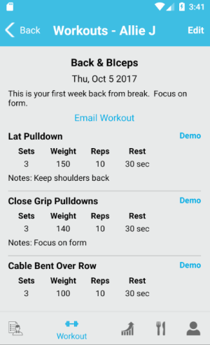 Create, edit, and deliver workouts to your clients using the FitSW Android App complete with Demo's.