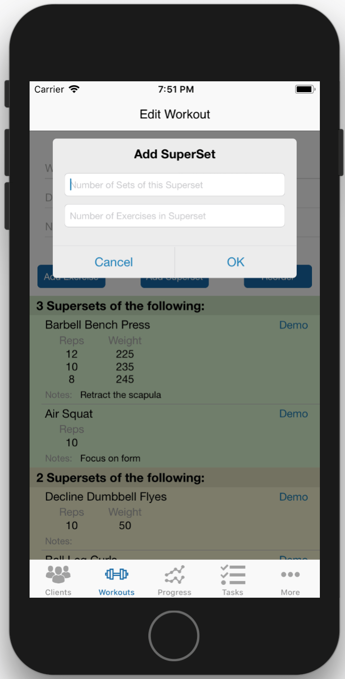Create Superset Workouts On Phone - Add the number of sets and exercises.