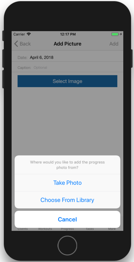 Add a new Image. Take And Store Fitness Progress Pictures In App