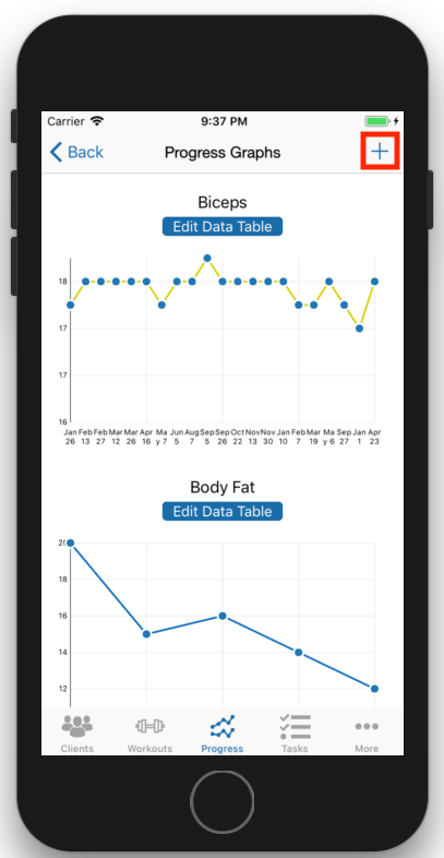 Client Fitness Progress Tracking Add Progress