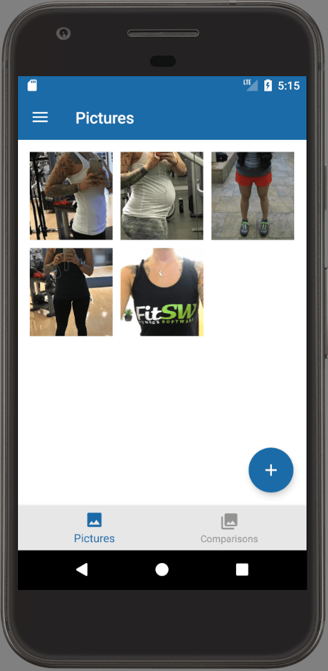 Progress Pictures and Progress Tracking in Android App Screen Demo