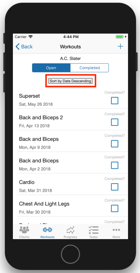 Organizing Workouts Diets Tasks iOS App Sorting View