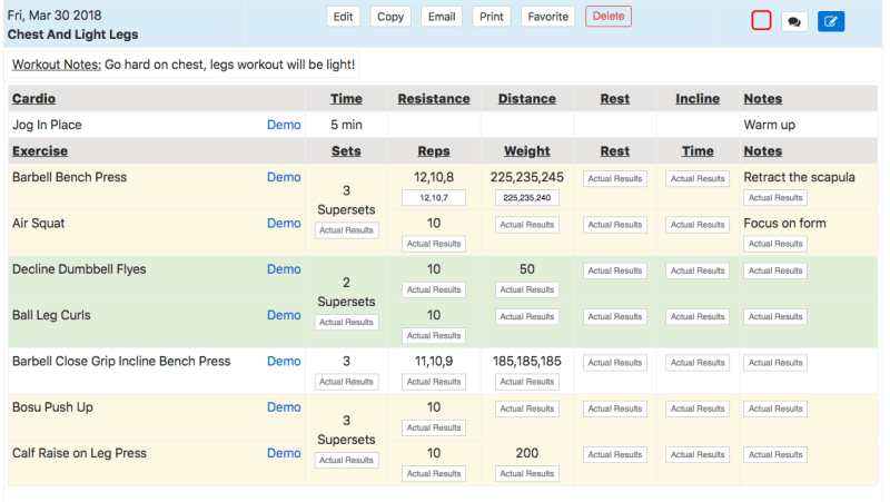 Client Workout Results Tracking Record Results Button
