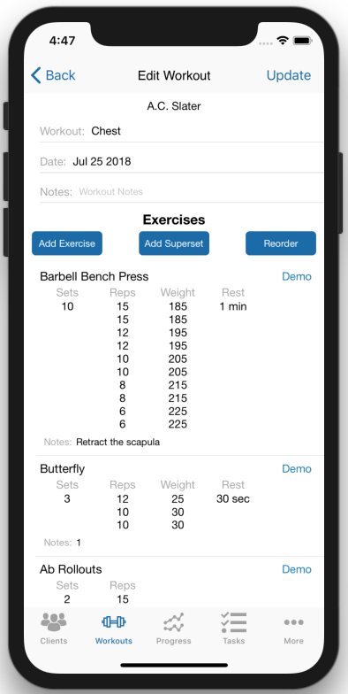 Personal Trainer Workout Creator Multiple Reps Weights