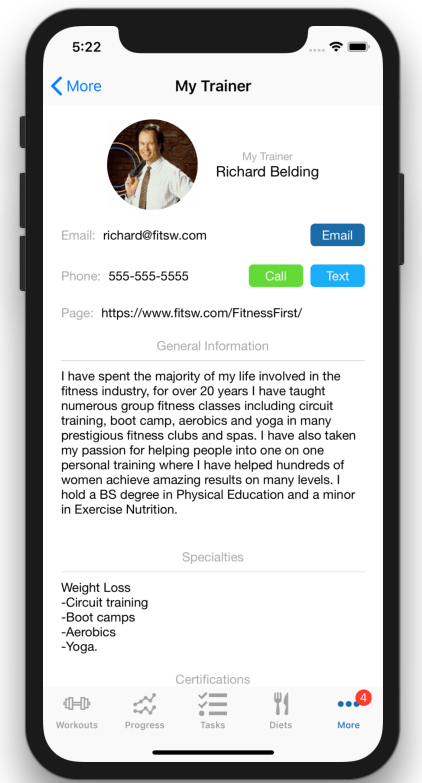 Personalized Personal Trainer Web page Client View
