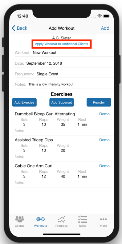 Creating Workout Plans for multiple Clients At Once Mobile App
