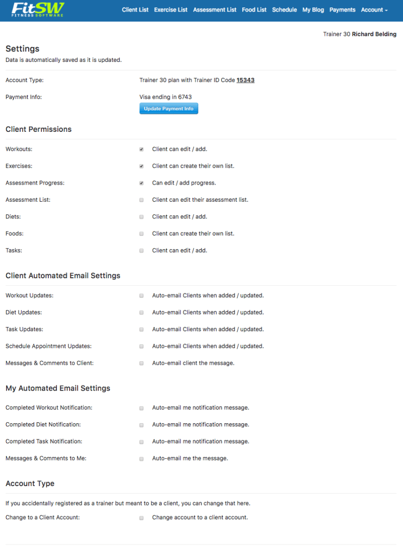 Personal Trainer Profile Page Settings Page