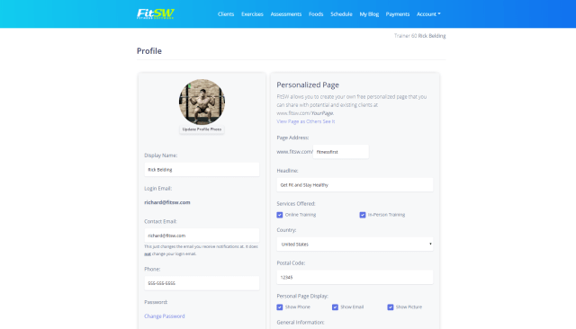 personal trainer website profile page view