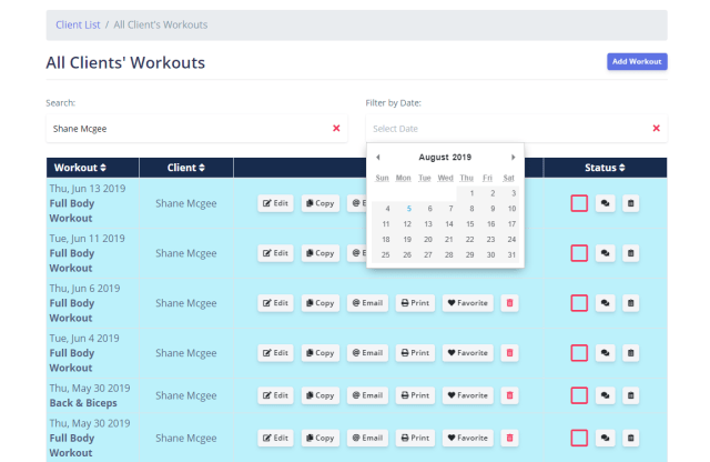 fitsw updates to all clients workouts