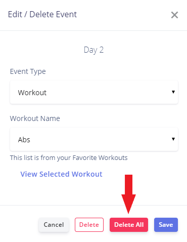 delete all for workout program feature